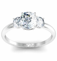 Cushion Three Stone Engagement Ring