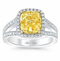 Cushion Yellow Diamond Split Shank Engagement Ring