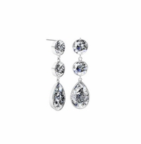 Dangling Pear and Round Diamond Earrings