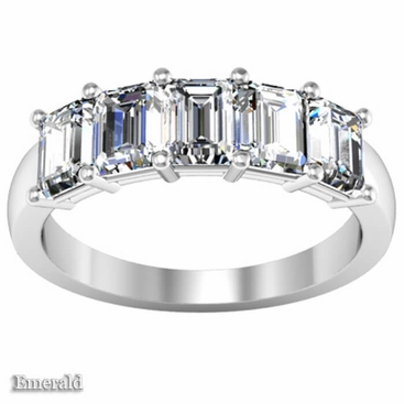 Diamond 5 Stone Ring in Emerald Cut - click to enlarge