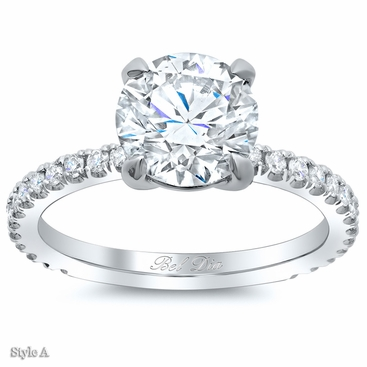 Diamond Accented Diamond Engagement Ring - click to enlarge