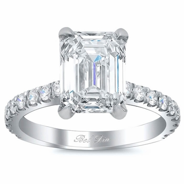 Diamond Accented Engagement Ring for Emerald Diamond - click to enlarge