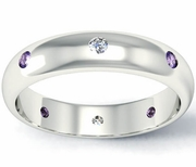 Diamond and Amethyst Domed Landmark Eternity Band