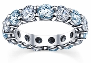 Diamond and Aquamarine Birthstone Eternity Band