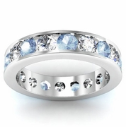 Diamond and Aquamarine Round Gemstone Eternity Ring in Channel Setting