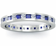 Diamond and Blue Sapphire Eternity Band