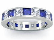 Diamond and Blue Sapphire Gemstone Eternity Wedding Ring