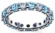 Diamond and Blue Topaz Anniversary Band