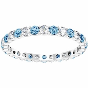 Diamond and Blue Topaz Eternity Band in 1.00 cttw