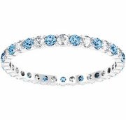 Diamond and Blue Topaz Eternity Ring 0.70 cttw