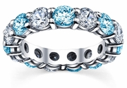 Diamond and Blue Topaz Wedding Band