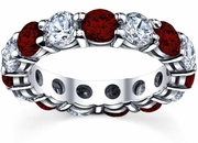 Diamond and Garnet Birth Stone Eternity Ring
