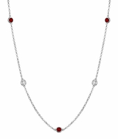 Gemstone Garnet and Diamond Bezel Necklace