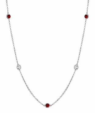 By the Inch Style Gemstone Necklace with Garnet and Diamond - click to enlarge
