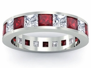 Diamond and Garnet Gemstone Eternity Wedding Ring