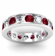 Diamond and Garnet Round Gemstone Eternity Band in Channel Setting