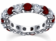 Diamond and Garnet Wedding Ring