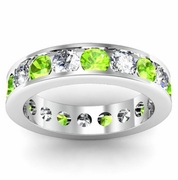 Diamond and Peridot Round Gemstone Eternity Band in Channel Setting