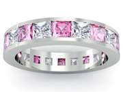Diamond and Pink Sapphire Gemstone Eternity Wedding Ring