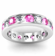 Diamond and Pink Sapphire Round Gemstone Eternity Ring in Channel Setting