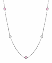 Diamond and Pink Sapphire Station Necklace