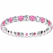 Diamond and Pink Sapphires Eternity Band