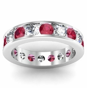 Diamond and Ruby Gemstone Eternity Ring in Channel Setting