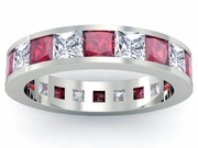 Diamond and Ruby Gemstone Eternity Wedding Ring