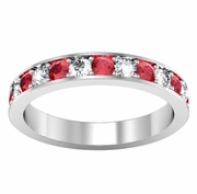 Diamond and Ruby Pave Eternity Ring (1.30 cttw)