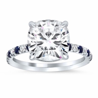 Diamond and Sapphire Accented Engagement Ring