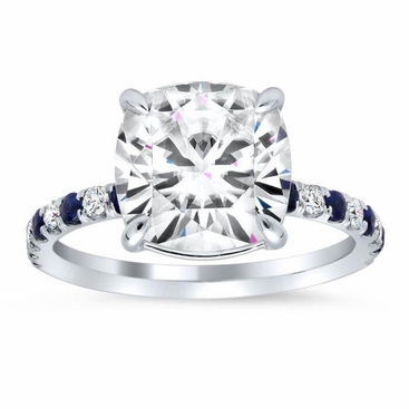 Diamond and Sapphire Accented Engagement Ring - click to enlarge