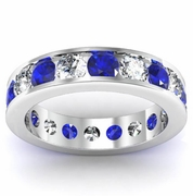 Diamond and Sapphire Round Gemstone Eternity Band in Channel Setting