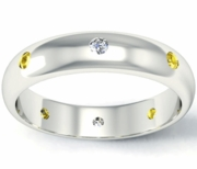 Diamond and Yellow Sapphire Domed Landmark Eternity Band