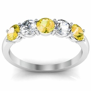Diamond and Yellow Sapphire Gemstone Ring