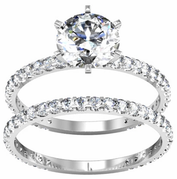 Diamond Bridal Wedding Set in 14kt Gold with 1.50cttw Diamonds - click to enlarge