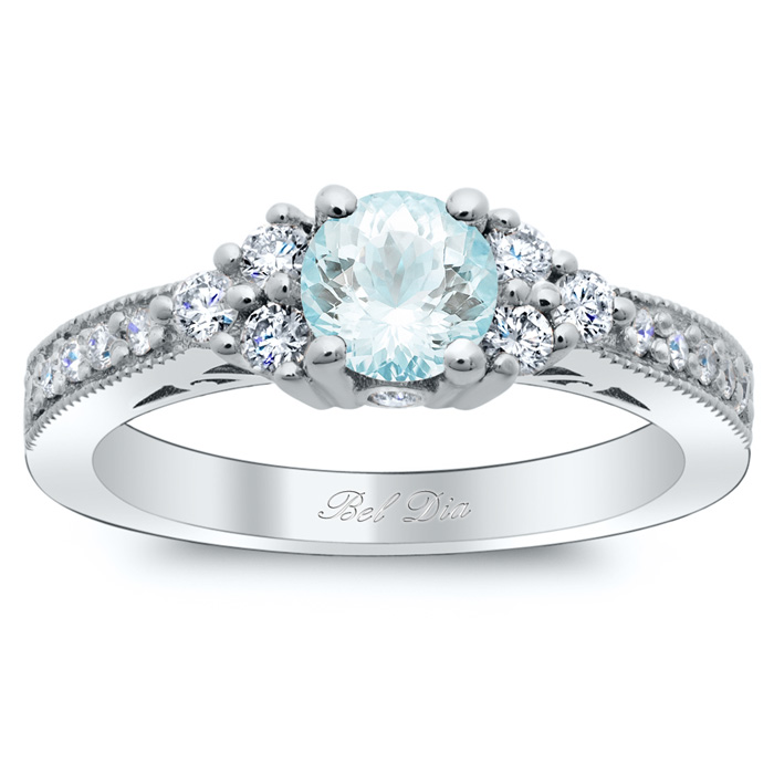 diamond cluster art deco engagement ring with round aquamarine - Art Deco Wedding Rings