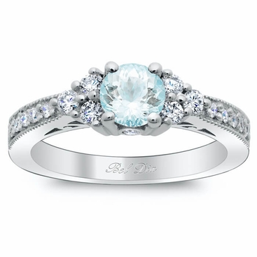 Diamond Cluster Art Deco Engagement Ring With Round Aquamarine   Click To  Enlarge
