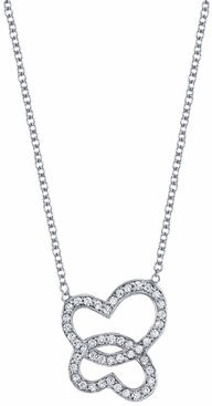 Diamond Double Heart Pendant - click to enlarge