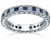 Diamond Eternity Wedding Ring Band with Sapphires or Rubies in Channel Setting