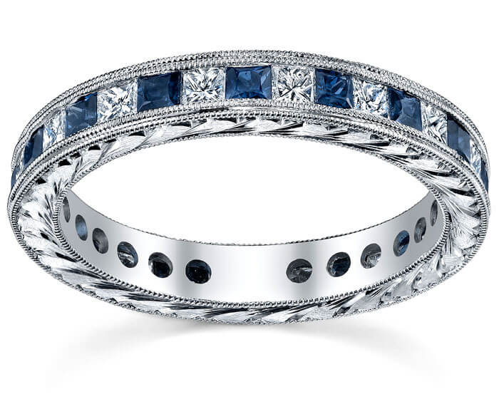 Diamond Eternity Wedding Ring Band With Sapphires Or