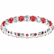 Diamond Eternity Wedding Ring with Rubies 1.00cttw