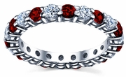 Diamond Eternity Wedding Ring with Rubies 2.00cttw