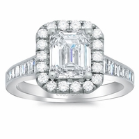 Diamond Halo Engagement Ring with Tapered Band