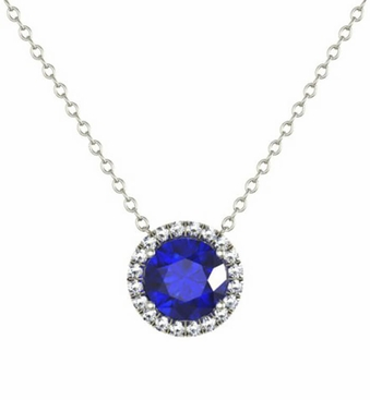 Diamond Halo Gold Pendant with Blue Sapphire Center - click to enlarge