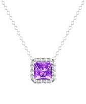 Diamond Halo Pendant with Princess Amethyst