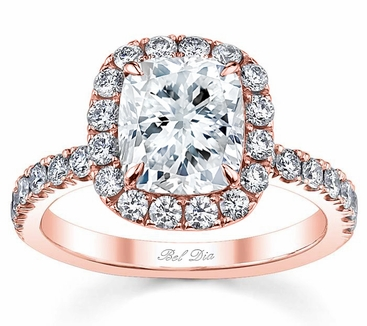 Diamond Halo Rose Gold Engagement Ring - click to enlarge