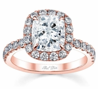 Diamond Halo Rose Gold Engagement Ring