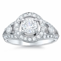 Diamond Halo Split Shaft Ring 1.30 cttw