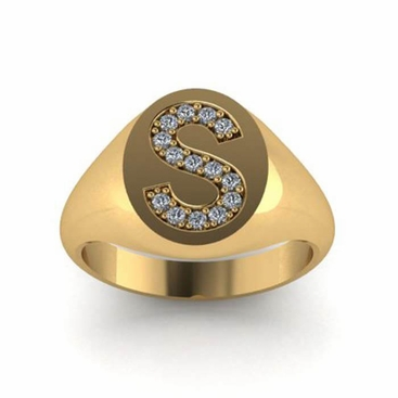 Diamond Initial Signet Ring - click to enlarge