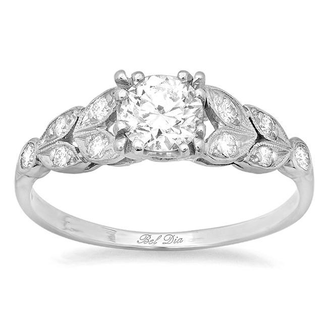 diamond leaf accented nature inspired engagement ring click to enlarge - Nature Inspired Wedding Rings